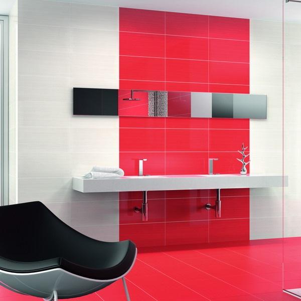 2-idei combinatie faianta alba si rosie baie moderna