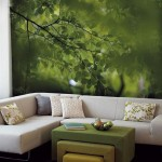 2-imagine padure verde foto tapet decorativ perete living
