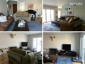 2-imagini cu livingul inainte de reamenajare si redecorare