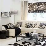 2-imprimeu floral alb negru decor living modern