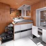 2-interior casa moderna locuinta sociala construita in interiorul unui cub cu panouri publicitare
