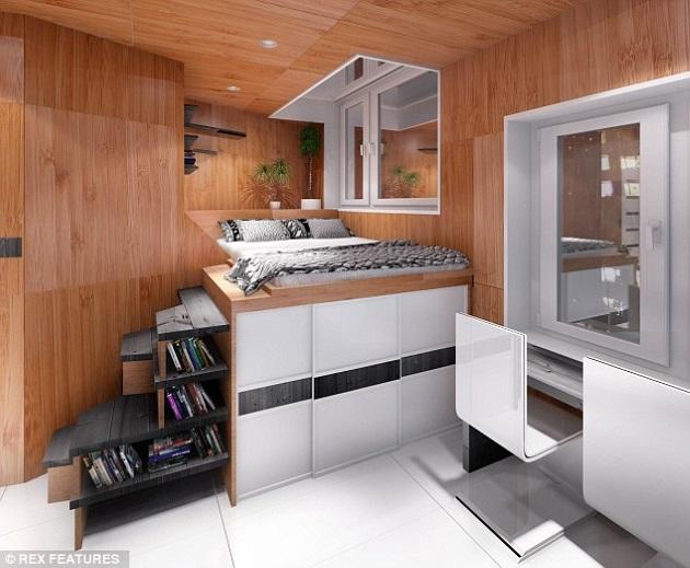 2 interior casa moderna locuinta sociala construita in interiorul unui cub cu panouri publicitare - Casa Cub Moderne