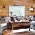 2-living amenajat in stil rustic interior casa veche din lemn