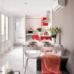 2-living loc de luat masa si bucatarie amenajate in plan deschis apartament de 45 mp