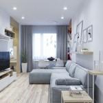 2-living lung si ingust stil scandinav cu canapea gri amenajare apartament modern