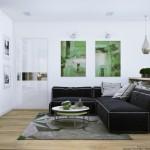 2-living modern amenajat in gri verde bej si alb