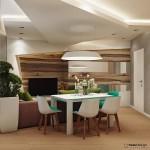 2-living modern cu pereti decorati cu lemn si constructii neregulate din gips carton