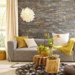 2-living modern decorat cu piatra naturala si elemente decorative din lemn accente eco
