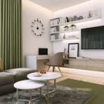 2-living modern in gri si verde olive apartament mic 2 camere