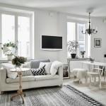 2-living scandinav open space decorat in alb gri si negru cu motive etnice