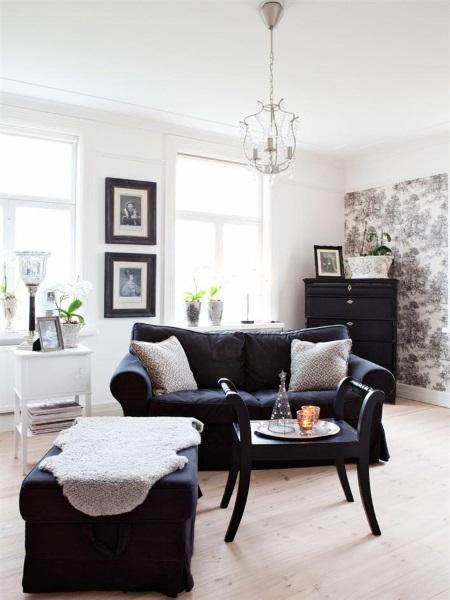 2-living stil scandinav amenajat in alb si negru