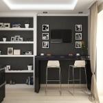 2-loc de luat masa tip bar bucatarie moderna decorata in negru