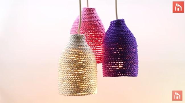 lustra DIY sticle plastic si sfoara
