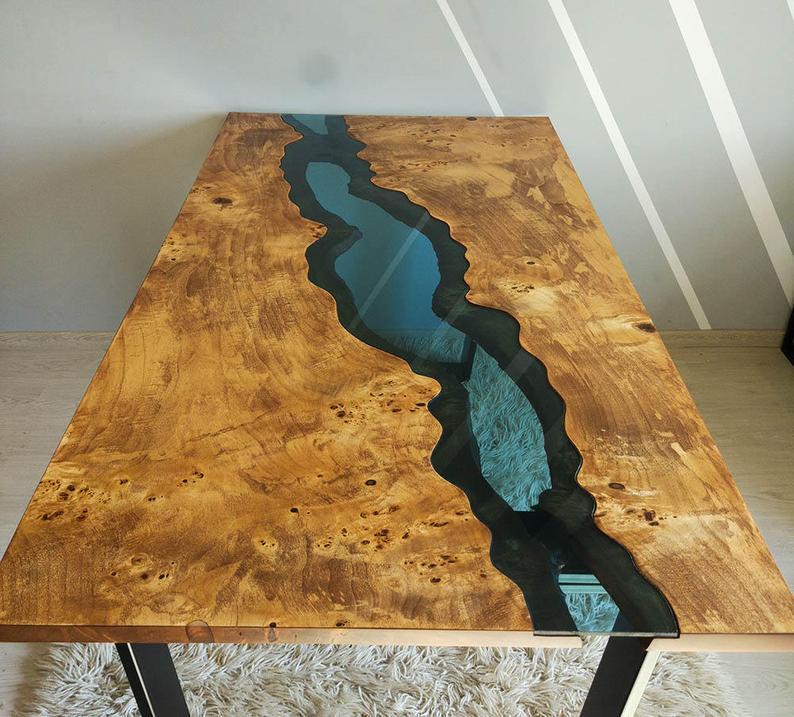 masa handmade lemn masiv rasina epoxidica