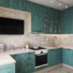 2-mobila bucatarie albastra stil rustic cu multe dulapuri
