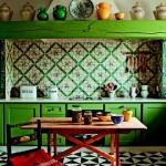 2-mobila din lemn de culoare verde bucatarie rustica