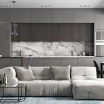2-mobila gri lucios cu wenge amenajare bucatarie open space apartament modern