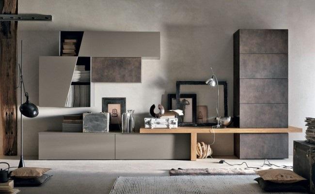 2-mobila ultramoderna living in doua nuante de gri si furnir de lemn