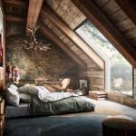 2-model de dormitor rustic mansardat cu multa piatra naturala si lemn