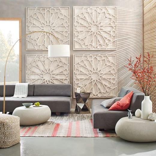 panouri lemn traforat decor perete living
