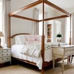 2-pat din lemn masiv cu cadru pentru baldachin