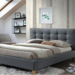 2-pat dormitor scandinav tapiterie gri picioare din lemn model Texas