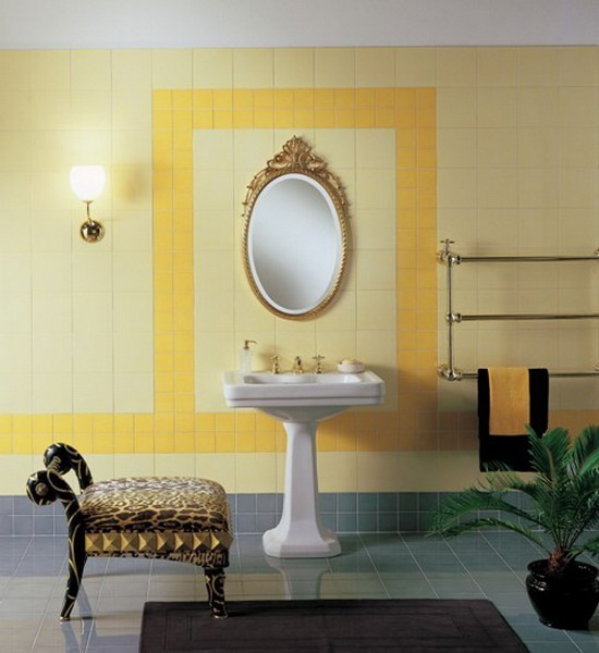 2-patrat contur oglinda si lavoar baie din faianta de alta culoare