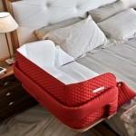 2-patut bebe Culla Belly rosu atasat de marginea patului parintilor