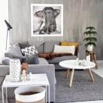 2-perete accent living modern cu aspect de beton nefinisat