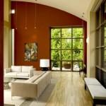 2-perete de accent de culoare rosie living modern spatios cu mobila alba