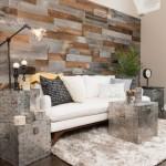 2-perete living modern accente vintage finisat cu bucati autoadezive lemn Artis Wall