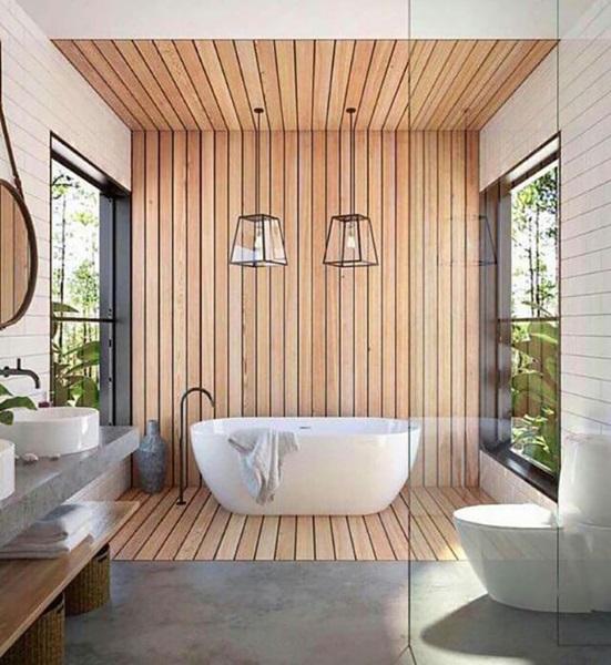 2-perete pardoseala si tavan placate cu lemn amenajare baie frumoasa