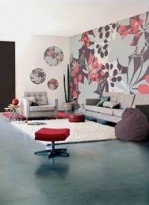 2-perete tapet decorativ imprimeu floral decor living tendinte 2015