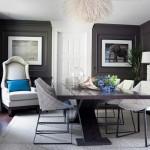 2-pereti gri inchis amenajare dining cu scaune albe