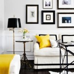 2-pernuta si patura galben insorit decor living sobru in alb si negru