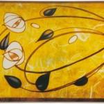 2-plafoniera DIverta din sticla galbena pictata magazin Lustre Online