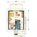 2-plan compartimentare interioara casa mica de vacanta suprafata 37 mp