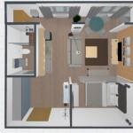 2-plan schita reconfigurare a unei garsoniere de 45 mp