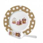 2-platou tort cu paleta servire asortata cup cake decorate in alb bej si roz magazin kika