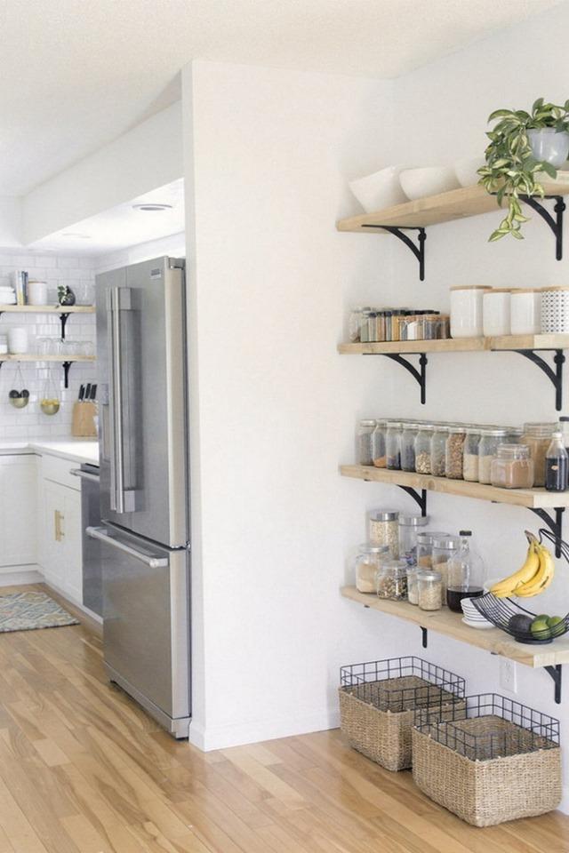 polite lemn organizare condimente alimente bucatarie