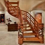 2-scara interioara din lemn forma curbata