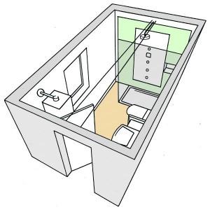 2-schita 3d baie moderna 5 virgula 3 mp cu cabina de dus
