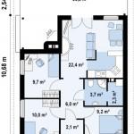2-schita compartimentare interior casa mica 65 mp cu 3 dormitoare fara etaj