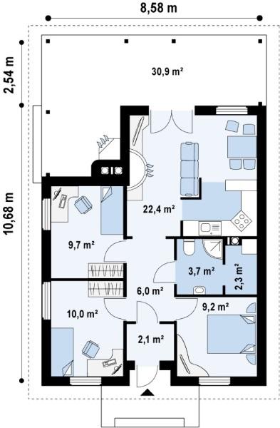 6 Proiecte De Case Mici Fara Etaj Cu Doua Sau Trei Dormitoare