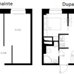 2-schita garsoniera 35 mp inainte si dupa transformare in apartament cu 2 camere