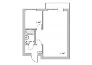 2-schita garsoniera inainte de afi transformata in apartament cu 2 camere
