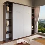 2-set mobila living cu pat rabatabil inchis integrat intre doua etajere