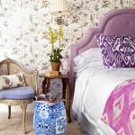 2-tapet cu imprimeu vegetal si pasari colorate decor perete dormitor