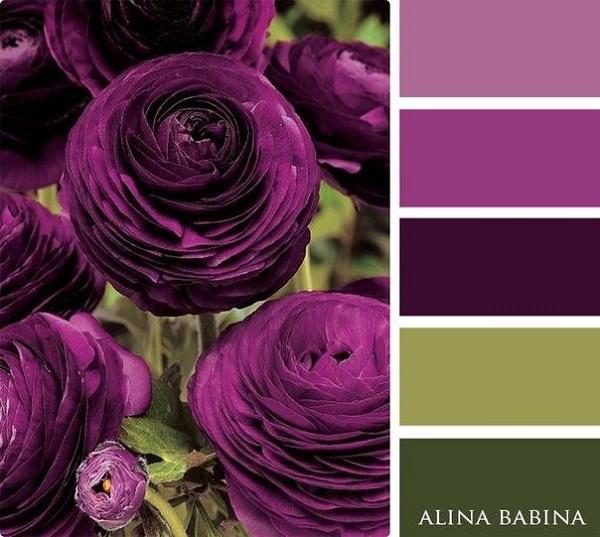 2-varianta asortare nuante de lila si violet cu verde masliniu