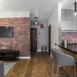 2-zona de living si bucatarie apartament 47 mp amenajat cu caramida aparenta